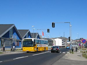 Transport in Greenland - Bus of Nuup Bussii A/S in downtown Nuuk