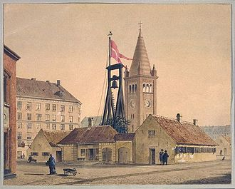 Nyboder - Painting from 1880 showing the guardhouse with the bell and St. Paul's, visible in the background. Today the view of the church is obstructed by buildings