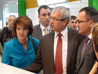 Nikolay Fyodorov (politician) - Fyodorov (right) with his Hungarian colleague Sándor Fazekas (center) - OMÉK, 2013
