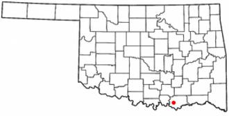 Calera, Oklahoma - Image: OK Map doton Calera