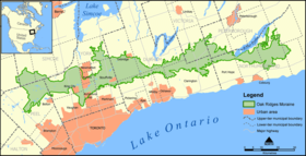 Carte des Moraine d'Oak Ridges