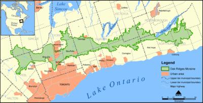 Moraine Ohio Map.Oak Ridges Moraine Wikipedia