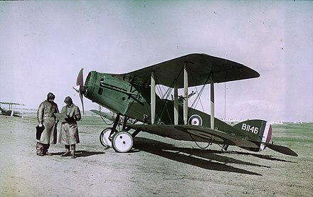 A Bristol F.2B Fighter of No. 1 Squadron, Australian Flying Corps flown by Ross Smith in Palestine, February 1918.