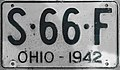 Ohio 1942 license plate.JPG