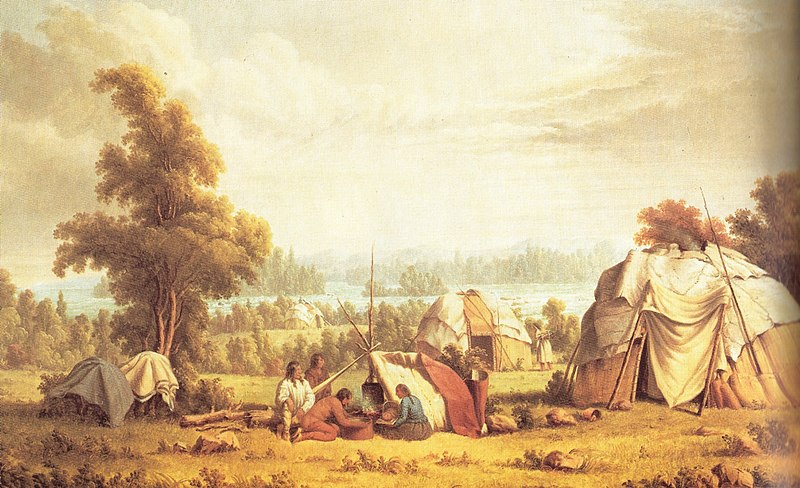 Ojibwa village at Sault Ste. Marie in 1846. Painting by Paul Kane (1810-71). Via Wikimedia Commons
