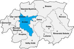 Location of Zvolenas apriņķis