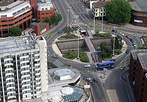 Transportation engineering - The engineering of this roundabout in Bristol, England, attempts to make traffic flow free-moving