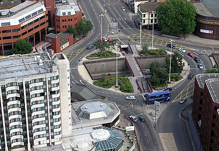 The engineering of this roundabout in Bristol, United Kingdom, attempts to make traffic flow free-moving. Old Market Roundabout, Bristol.jpg