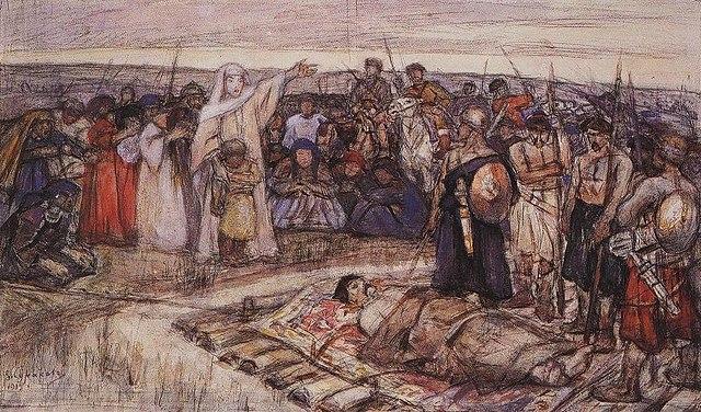 «Княгиня Ольга встречает тело князя Игоря». Эскиз В.И.Сурикова, 1915