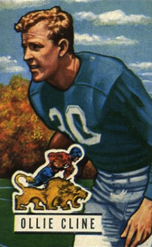 Ollie Cline pictured in a Detroit Lions uniform on a 1951 Bowman football card