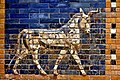 One of the aurochs of the the Ishtar Gate of Babylon, colored glazed and molded bricks, 6th century BCE. Pergamon Museum.jpg