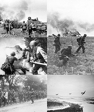 Operation Barbarossa - Clockwise from top left: German soldiers advance through Northern Russia; German flamethrower team in the Soviet Union; Soviet Ilyushin Il-2s flying over German positions near Moscow; Soviet prisoners of war on the way to German prison camps; Soviet soldiers fire artillery at German positions.