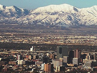 Oquirrh Mountains - Oquirrh Mountains from over downtown SLC, 2006