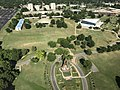 Oral Roberts University large hands entrance from the air summer 2017.jpg