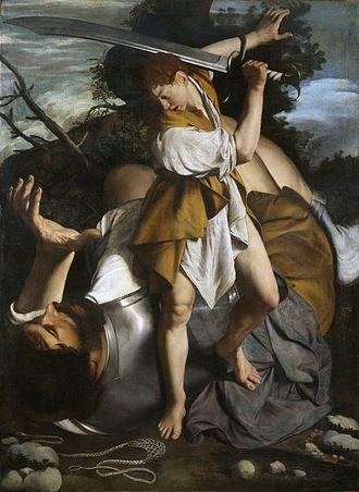 Baroque painting - Orazio Gentileschi, David and Goliath (c. 1605-1607)