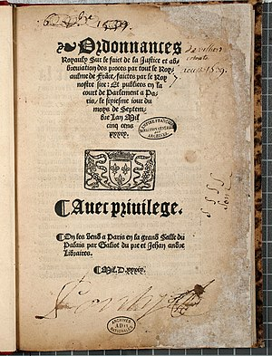 Ordinance of Villers-Cotterêts - Image: Ordonnance de Villers Cotterets. Page 1 Archives Nationales AE II 1785