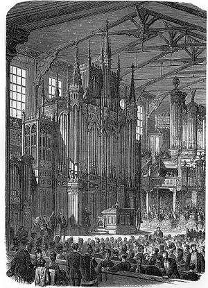 Parr Hall - The organ (in 1870) displayed in the demonstration hall of Aristide Cavaillé-Coll in Paris prior to its delivery to Bracewell Hall.