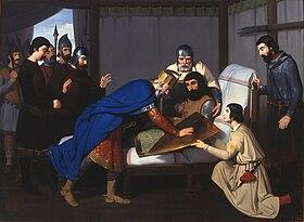Claudi Lorenzale, Origine de l'écu de comte de Barcelone, Huile sur toile, 1843-1844.