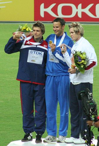 2007 World Championships in Athletics - The victory ceremony for the men's javelin
