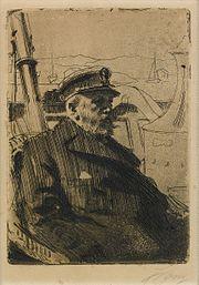 Oscar II boating.Engraving by Anders Zorn.
