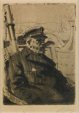 Oscar II of Sweden - Oscar II boating. Engraving by Anders Zorn.