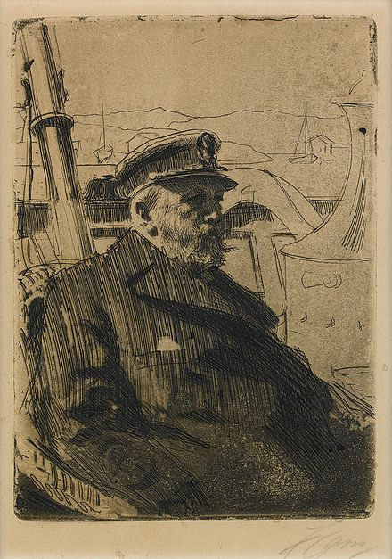 Oscar II boating. Engraving by Anders Zorn. Oscar II by Zorn from Hildebrand Sveriges historia.jpg