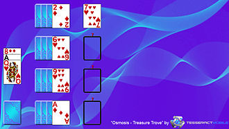 """Osmosis (solitaire) - This image is a screenshot of the solitaire game """"Osmosis-Treasure Trove"""".  More information about this game or this photo can be found on this website: http://www.tesseractmobile.com/"""