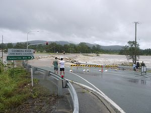 Cyclone Oswald - John Muntz Causeway near Oxenford, Qld flooded and closed on 28 January 2013 after heavy rains