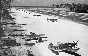 15th Wing - P-39Qs of the 46th Fighter Sq at Makin Island in December 1943.