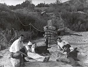 Jack Parsons (rocket engineer) - GALCIT Group members in the Arroyo Seco, November 1936. Left foreground to right: Rudolph Schott, Amo Smith, Frank Malina, Ed Forman, and Jack Parsons.