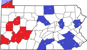 Pennsylvania State Athletic Conference - Image: PSAC Locations and Divisions
