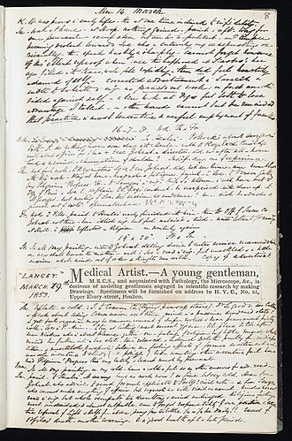 Henry Vandyke Carter - Image: Page from Henry Vandyke Carter's Journal Wellcome L0045308