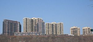 Cliffside Park, New Jersey - Highrises atop Hudson Palisades