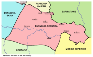 Bassianae - Map of Pannonia Secunda province with major towns, including Bassianae