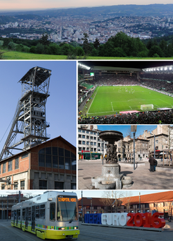 Clockwise from top: View of Saint-Étienne, Stade Geoffroy-Guichard, Place du Peuple, tramway at Gare de Châteaucreux and Couriot Coalmine.