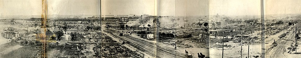Panorama of the ruined area tulsa race riots