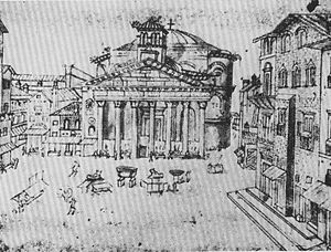 Piazza della Rotonda - The piazza, fountain absent and houses built against the Pantheon, in a 15th-century ink manuscript illumination.