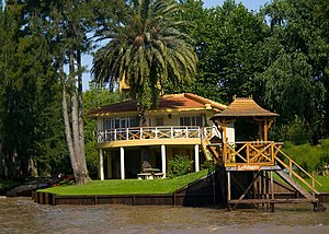Paraná Delta - Boat dock-shed and typical house on stilts in Tigre, Buenos Aires (Lower Delta)
