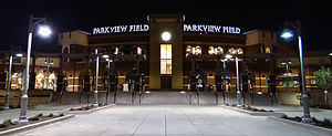 Parkview Field - Entrance plaza at night.