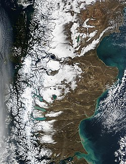 NASA satellite image of Patagonia during the southern winter