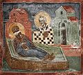Patriarchate of Pec, St. Nicholas chapel - 17 Nicholas appears in a dream, reassuring Stepehn Decani.jpg