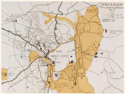 """תוכנית גדס (בעריכת אשבי) כפי שהופיע בדו""""ח של החברה למען ירושלים במרץ 1921. האזור המסומן בצהוב בהיר הוא השטח הפתוח המוצע, הנקי מבנייה, מסביב לאגן העיר העתיקה"""