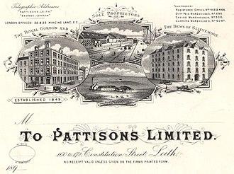Pattison's whisky - Pattisons Ltd. Letterhead