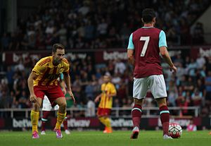 Matt Jarvis - Jarvis (right) playing for West Ham United in 2015