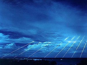 Military technology - Test of the LG-118A Peacekeeper missile, each one of which could carry 10 independently targeted nuclear warheads along trajectories outside of the Earth's atmosphere.