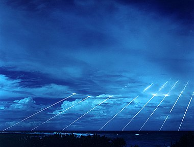 Testing at the Kwajalein Atoll of the Peacekeeper re-entry vehicles, all eight fired from only one missile. Each line, were its warhead live, represents the potential explosive power of about 375 kilotons of TNT.