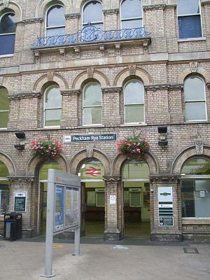Peckham - Peckham Rye railway station entrance off Rye Lane