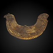 Golden Egyptian-style pectoral ornated with royal falcons-AO 9093