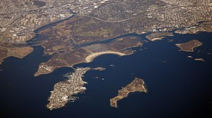 Pelham Bay Park - Aerial view of the park (pictured in the center left)