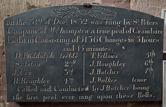 Peal - Peal board in St Michael and All Angels' church, Penkridge, Staffordshire,  recording the first peal on the new bells in 1832